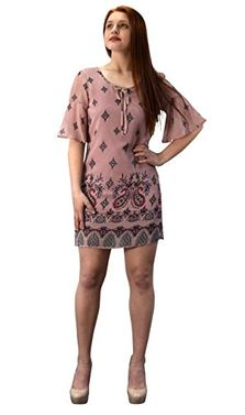 Pink Paisley Mid Length Keyhole Neck Paisley Caftan Tunic Dress