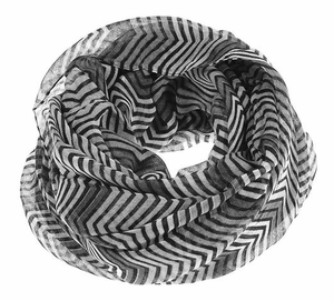 Peach Couture Modern Radiant Multicolored Chevron Geometric Infinity Loop Scarf (Grey/White)