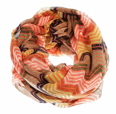 Hot Pink Radiant Multicolored Chevron Geometric Infinity Loop Scarf