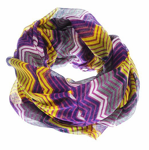 Peach Couture Modern Radiant Multicolored Chevron Geometric Infinity Loop Scarf (Purple/Yellow)