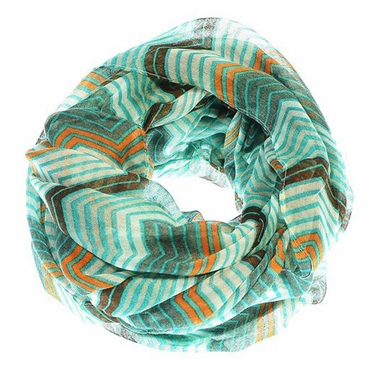 Teal/Brown Radiant Multicolored Chevron Geometric Infinity Loop Scarf