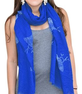 White Blue Multicolored Colorful Graphic Animal Print Owl Print Fringe Scarf