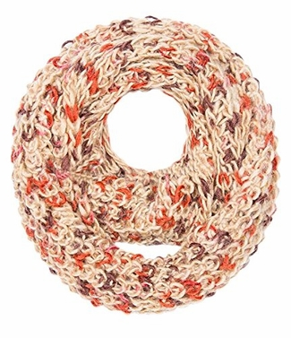 Tan Multi Color Hand Knit Chunky Infinity loop Scarves