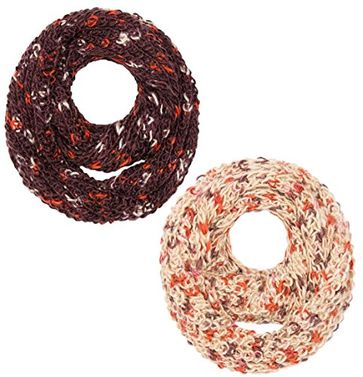 Peach Couture Multi Color Hand Knit Thick Chunky Infinity loop Scarves for extreme warmth