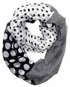 Black Polka Dot Circle and Stripe Print Infinity Loop Scarf