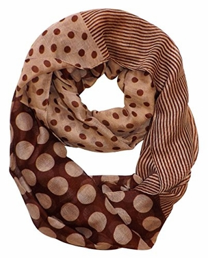 Multi Polka Dot Circle and Stripe Print Infinity Loop Scarf (Brown)