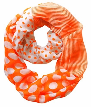 Multi Polka Dot Circle and Stripe Print Infinity Loop Scarf (Orange)