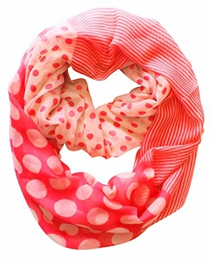 Pink-Cream Polka Dot Circle and Stripe Print Infinity Loop Scarf