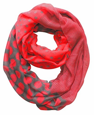 Multi Polka Dot Circle and Stripe Print Infinity Loop Scarf (Pink and Grey)