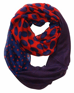 Multi Polka Dot Circle and Stripe Print Infinity Loop Scarf (Red and Navy)