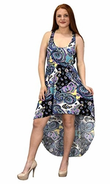 Lavender Multi Color Paisley Sleeveless Crochet Back Blouson Hi Lo Dress (Medium)