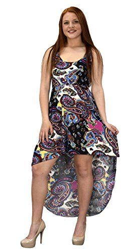Pink Multi Color Paisley Sleeveless Crochet Back Waist Fit Hi Lo Dress L