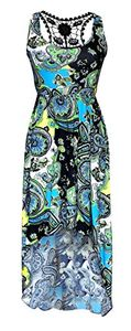 Multi Color Paisley Sleeveless Crochet Back Waist Fit Hi Lo Dress, M
