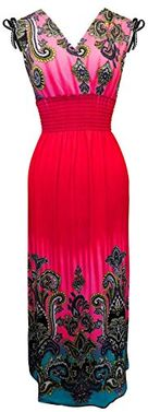 Fuchsia Multi Color Tropical Border Print Maxi Dress