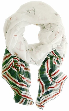 Green Nautical Anchor Navy Scarf Wrap Shawl (Red/white/green)
