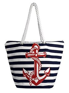 Nautical Anchor Print Bold Stripe Summer Purse Beach Bag Totes (Onesize)