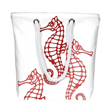 Red Nautical Seahorse Bags Pure Cotton Canvas Bags Beach Bags Hobo Bags Handbags Purses Tote Bags Picnic Bags