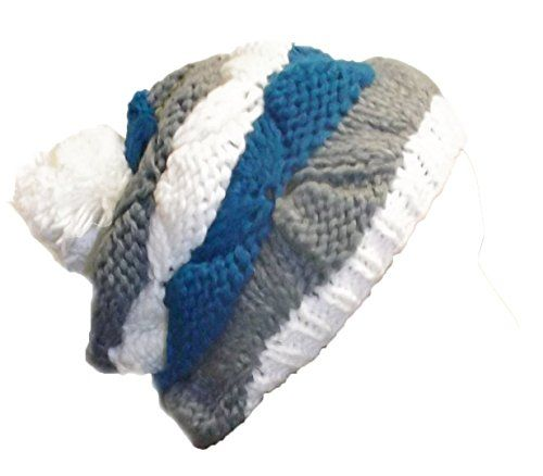 Hand Knit Striped Cozy Warm Cable Knit Winter Crochet Cap Snowboarding Ski Hat Beret
