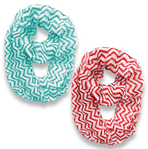 Turquoise-Red Sheer Chevron Infinity Loop Scarf (36x40)