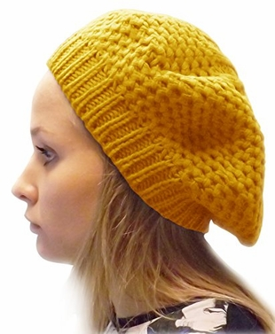 Yellow New Womens Stylish & Warm Slouchy Fall/Winter Beret / Hat / Cap