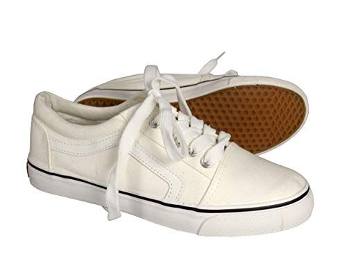 White Womens Comfortable Sneakers Skater Lace up Tennis Shoes