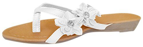 White Open-Toe Flower Strap Womens Sandals Dress flip Flops 6