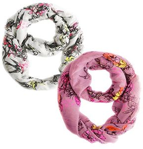 Peach Couture Paint The Town Red Cherry Blossom Floral Print Infinity loop Scarves 2 Pack