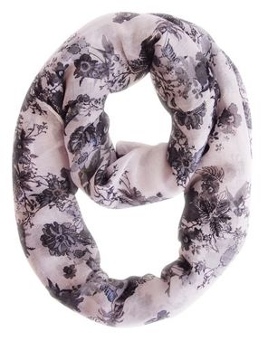 Red-Cherry Blossom Floral Print Infinity loop Scarves