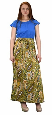 Blue Paisley Boho Cap Sleeves Maxi Cocktail Dress S