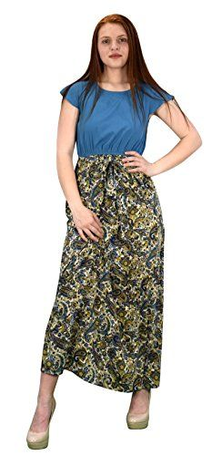 Teal Multi Paisley Boho Cap Sleeves Summer Maxi Evening Beach Cocktail Dress (Medium)