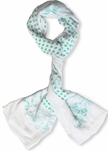 Mint Paisley Bordered Polka Dot Print Lightweight Eyelash Fringe Scarf