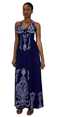 Navy Paisley Floral Animal Print Exotic V Neck Cocktail Plus Sized Maxi Dress 1X, 2X, 3X