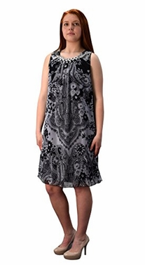 Black-White Paisley Frock Midi Dress Embellished Tunic Neckline (Large)
