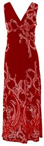 Peach Couture® Paisley Knotted Sleeveless Maxi Dress Beach Dress Evening Dress (Small, Red)
