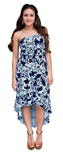 Navy Paisley Print Ruffle Fitted Hi Low Tube Summer