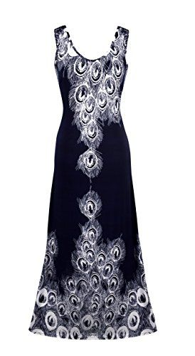 Navy Peacock Feather Crochet Back Work dress Royal Cocktail Party Maxi Dress X-large