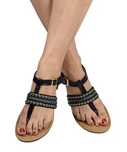 Black Pearl Studded Ankle Wrap Strappy Buckle Gladiator Sandals 11 B(M) US