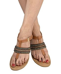 Tan Pearl Studded Ankle Wrap Strappy Buckle Gladiator Sandals