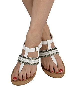 White Pearl Studded Ankle Wrap Strappy Buckle Gladiator Sandals