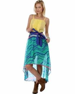 Yellow & Aqua Top High Low Printed Chiffon Dress w/ Waist Tie (Medium)