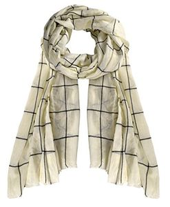 Cream Plaid Stripe Checkered Light Eyelash Fringe Beach Wrap Shawl Scarf