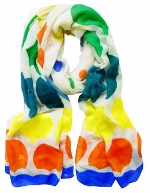 Ivory-Royal Blue Multi-Color Polka Dot Scarf/wrap/shawl