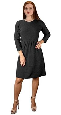 Pleated Empire Waist 3/4 Sleeve Flare Dress Medium