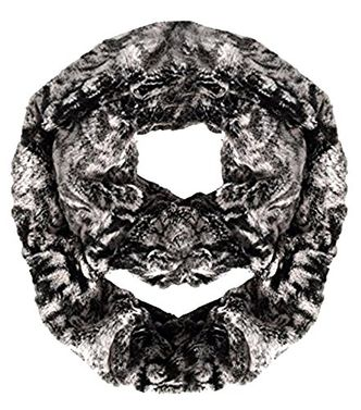 Plush Cowl Collar Faux fur Two Tone Infinity Loop Scarf
