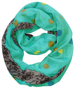 Polka Dot and Floral Graphic Print Infinity Loop Scarf