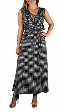 Black Polka Dot Ruffled V Neck Sleeveless Summer Maxi Dress S