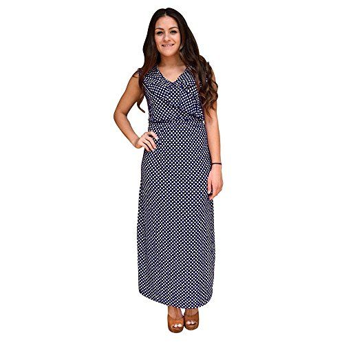 Blue Polka Dot Sleeveless Ruffle Neck Maxi Dress White,S