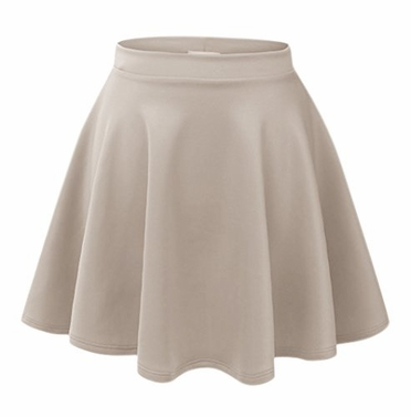 Taupe Summer Flare Skater Mini Skirt with Banded Waist (Medium)