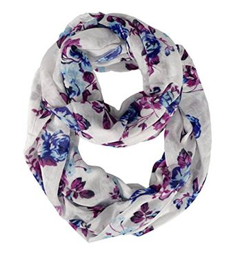 Graphic Floral Print infinity loop scarves