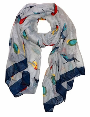 Grey Vintage Finch Bird Print Light Sheer Scarf